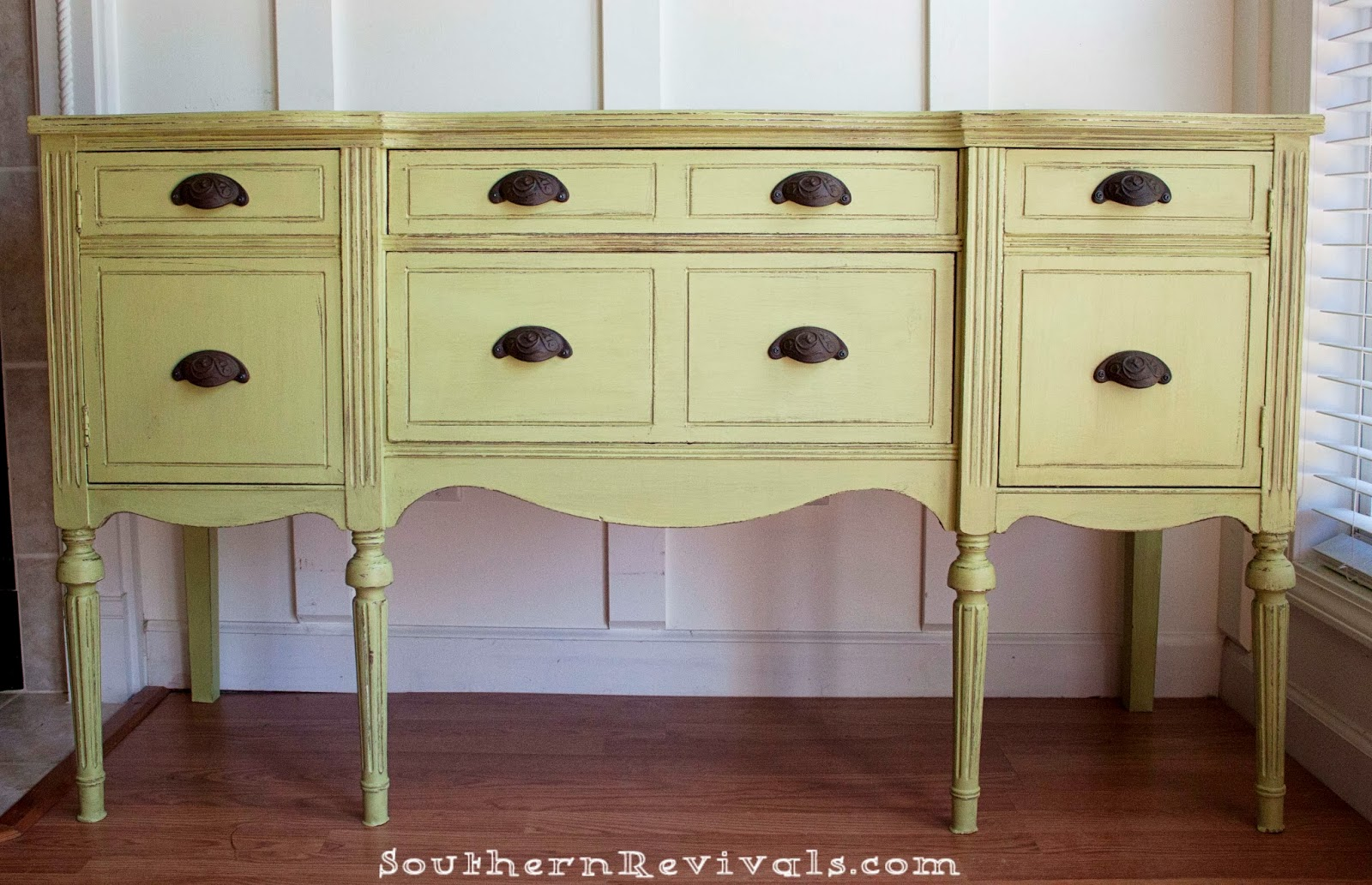 updating a vintage sideboard buffet with a pop of color southern revivals. Black Bedroom Furniture Sets. Home Design Ideas
