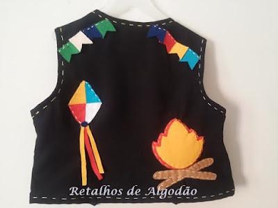 Colete infantil  para meninos personalizado para usar na festa junina