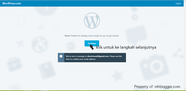 meneruskan proses registrasi blog di wordpress