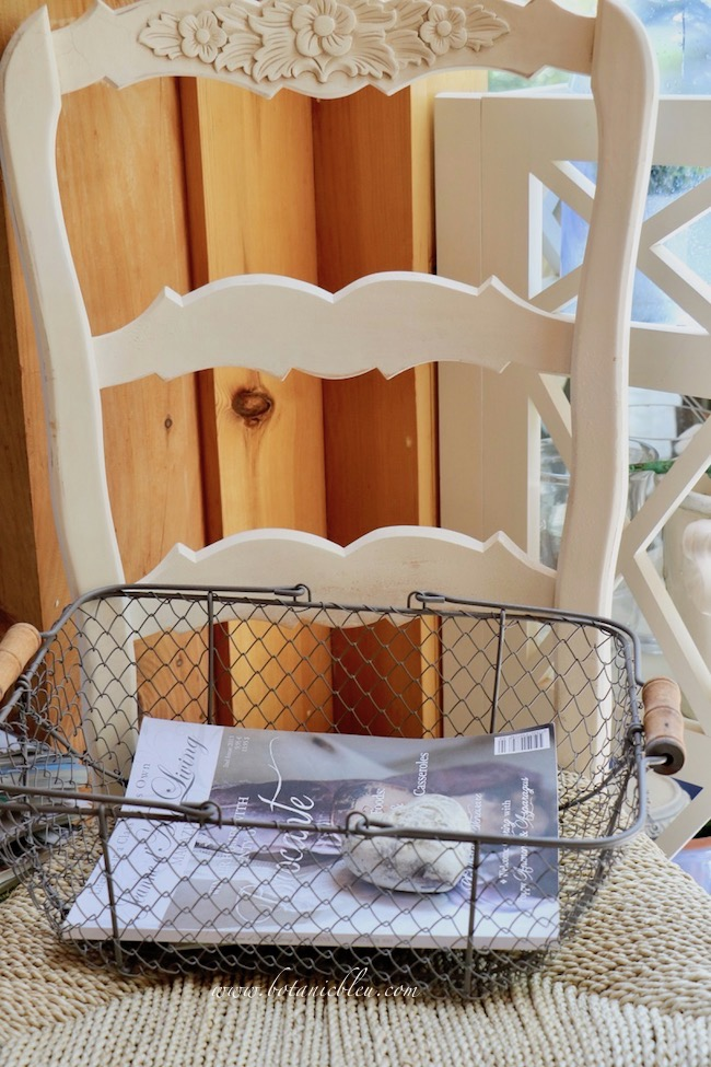 White painted French Country carved ladder back dining chair