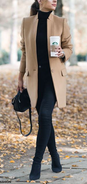 awesome winter trends / nude coat + black skinnies + high neck sweater + bag + boots