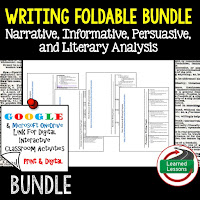 Narrative Writing, Informative Writing, Literary Analysis, Persuasive Writing Foldable, Persuasive Writing Google Classroom, Digital Learning, 1:1
