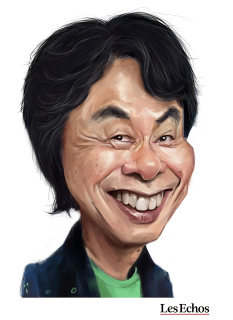 Shigeru Miyamoto, caricature par ïoO pour Les Echos