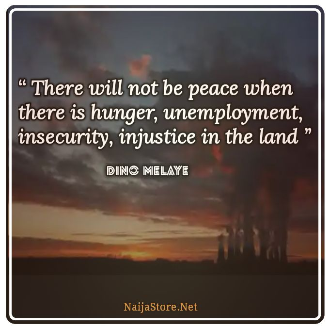 Dino Melaye's Quote: There will not be peace when there is hunger, unemployment, insecurity, injustice in the land - Quotes