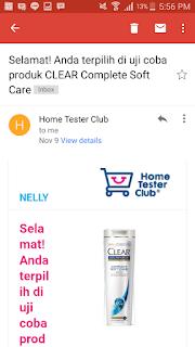 email pemberitahuan dari home tester club indonesia mengenai clear