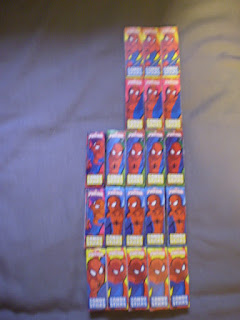 Other side of Ultimate Spider-Man Candy Sticks boxes