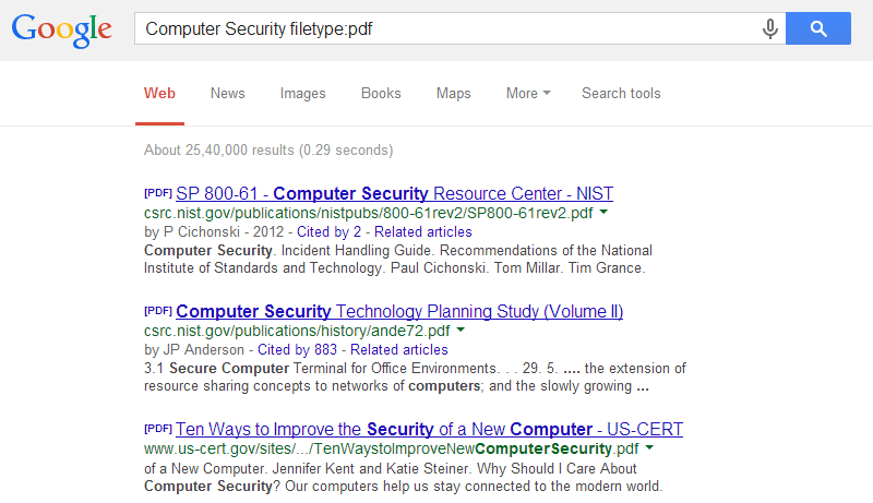Filetype Pdf Google dorks
