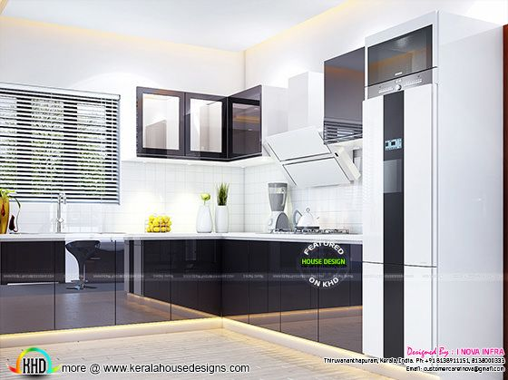 Grey colour kitchen interior