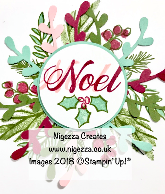 Christmas Wreath Card Using Stampin' Up!® Peaceful Noel Nigezza Creates