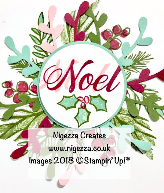 Christmas Wreath Card Using Stampin' Up!® Peaceful Noel Nigezza Creates
