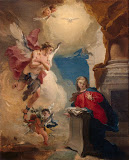 Annunciation by Giovanni Battista Tiepolo - Christianity Paintings from Hermitage Museum