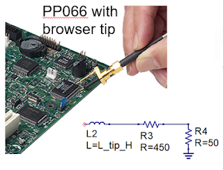 A browser tip puts a 450-Ω resistor in series with the probe tip to improve bandwidth