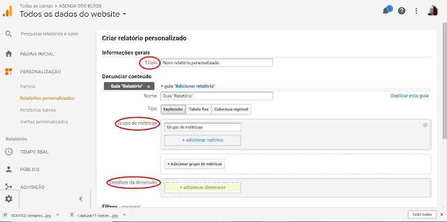 Google Analytics: Inserindo dados no relatório personalizado