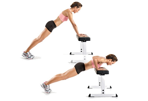 8 Simple No-Equipment Workouts At Home For Women!- Incline Push Ups