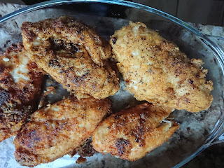 Chicken fried until golden brown
