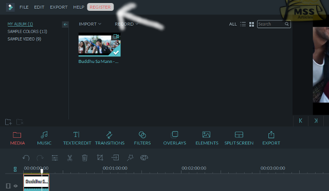 click on the register in the menu bar in top life side - MSS Articles
