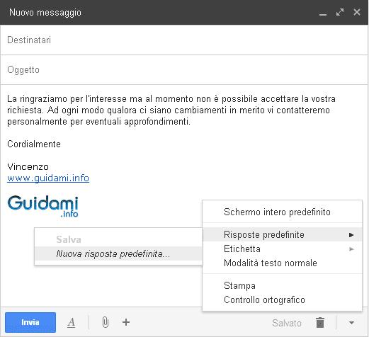 Gmail creare una risposta predefinita