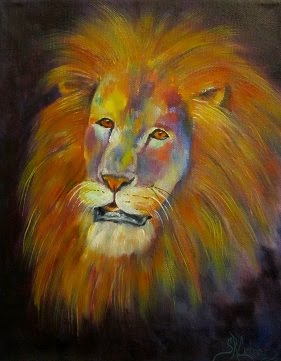 """Naja"",  brightly colored male lion portrait in oils"