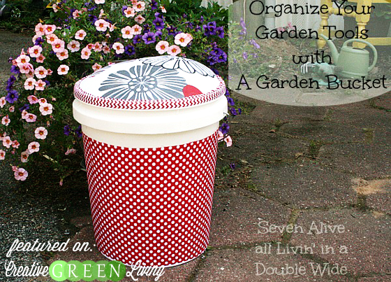 Organize your garden tools in style with this bucket & stool combo