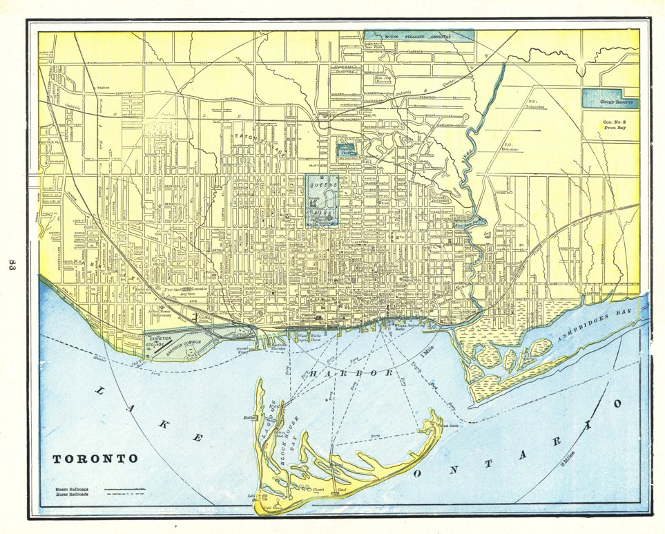 1895 Map of Toronto by George F. Cram from the Universal Atlas