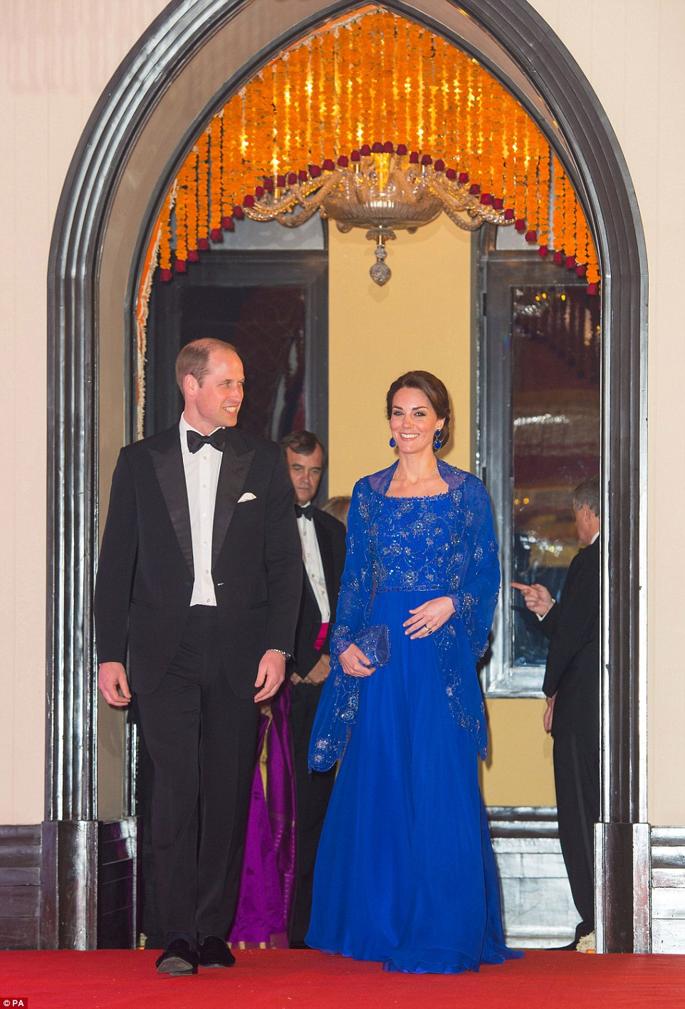Kate Middleton stuns in a cobalt blue gown and cape for Bollywood Gala