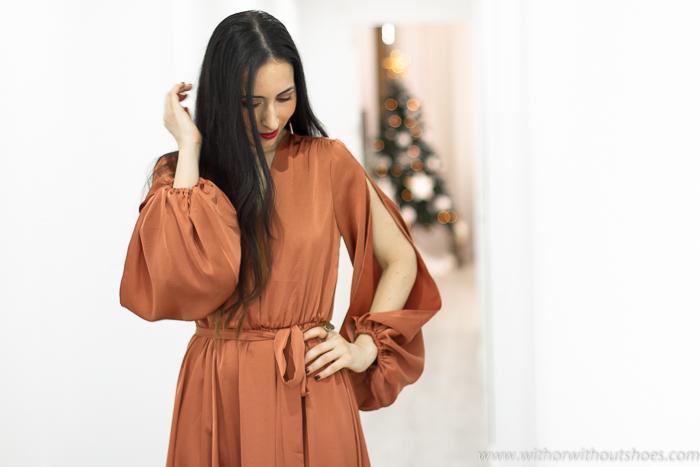 blogger influencer con Look fiesta bautizo boda celebraciones vestido largo