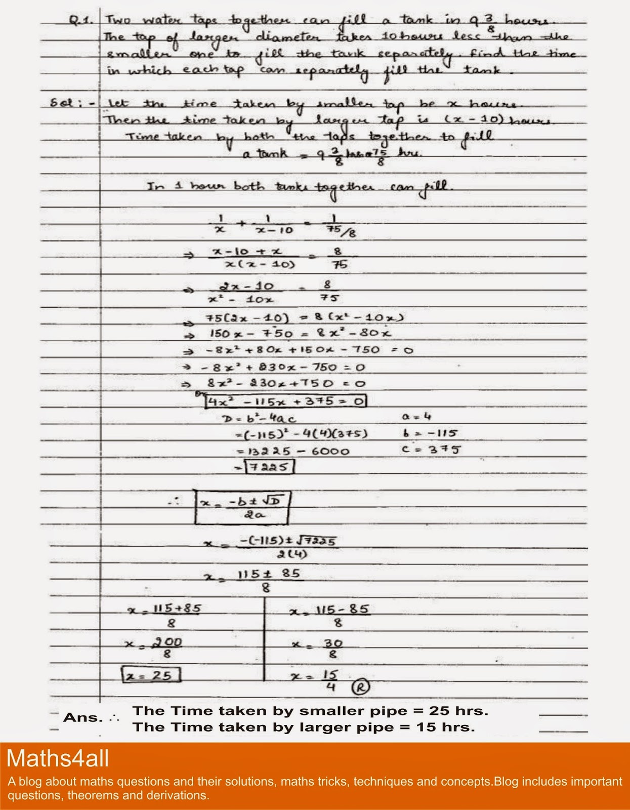 Maths4all Class X Quadratic Equation Important Question