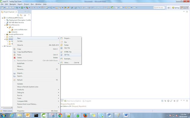 Creating JSP page