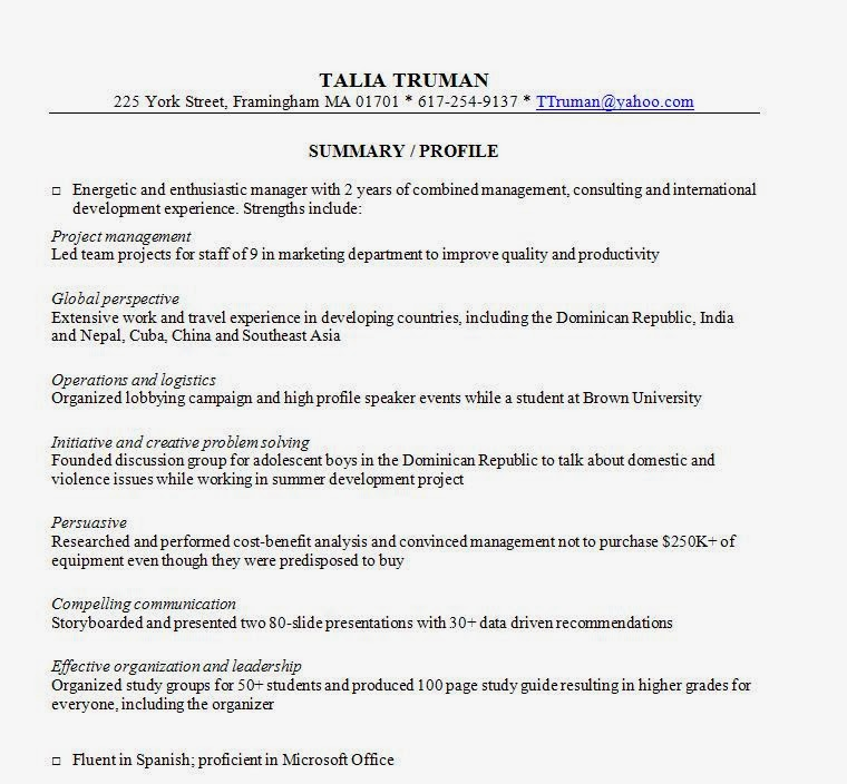 resume summary george wrote for a client information changed
