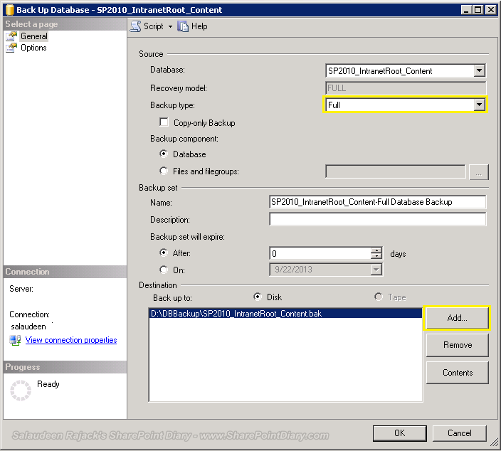 backup SharePoint content database in SQL Server Management Studio