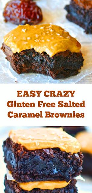 EASY CRAZY Gluten Free Salted Caramel Brownies Recipe #easybrownies #crazy #caramel #saltedcaramel #glutenfree #healthydessert #easydessert #vegan #eggfree #dessert #fugde