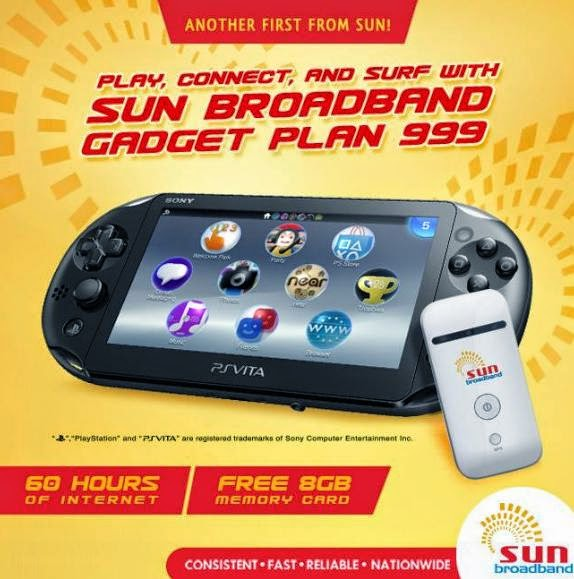 Playstation Vita Now at Sun Broadband Gadget Plan 999