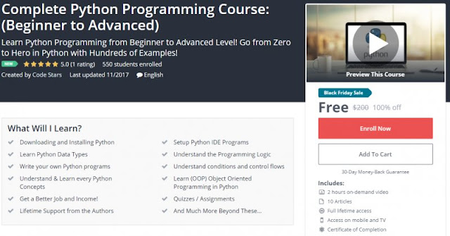 [100% Off] Complete Python Programming Course: (Beginner to Advanced)| Worth 200$
