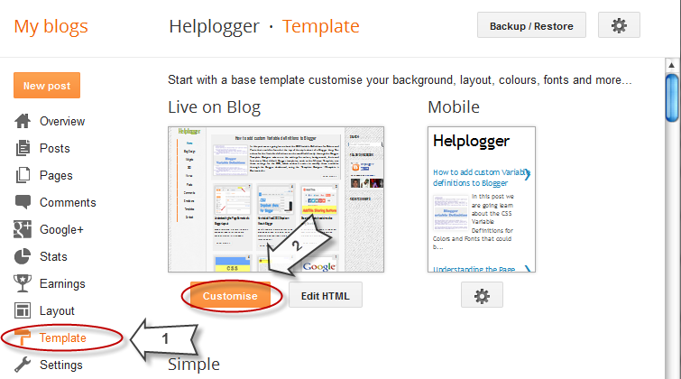 How to Add CSS code To Blogger using Template Designer 2