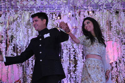 Krutika and Akshay dancing in sangeet ceremony