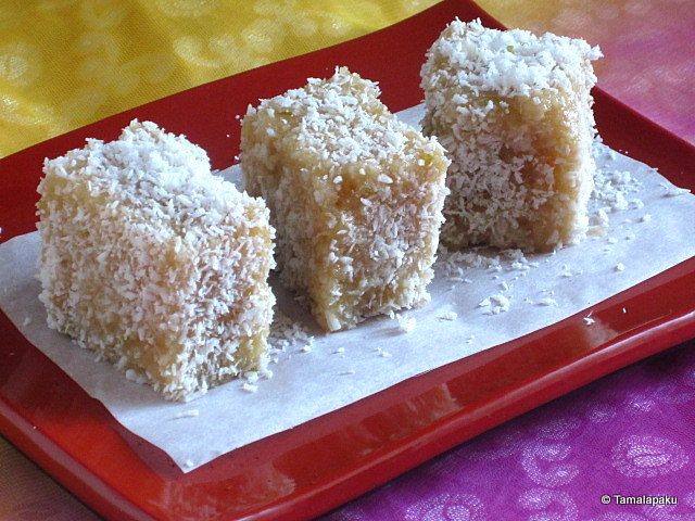 Eggless Lamington Cake Recipe