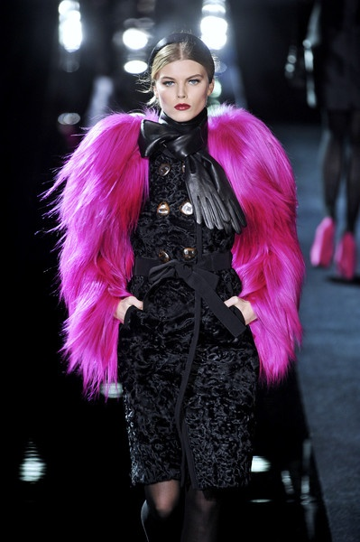 runway look: Dolce and Gabbana F/W 2009 black and pink fur coat