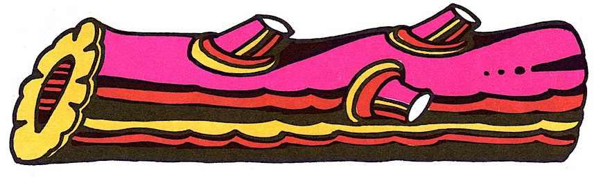 a 1966 John Alcorn illustration of a log