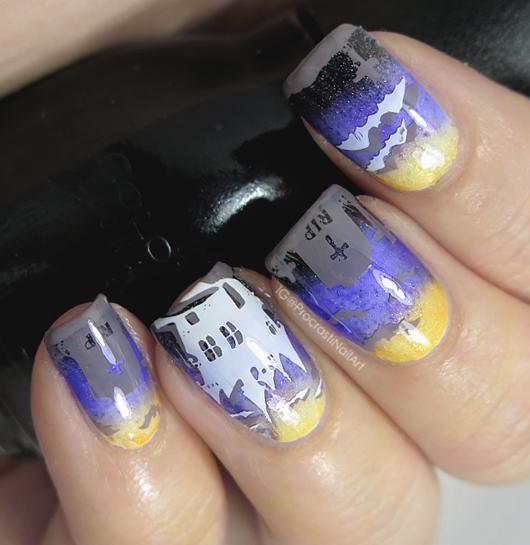 Halloween gradient graveyard nail art