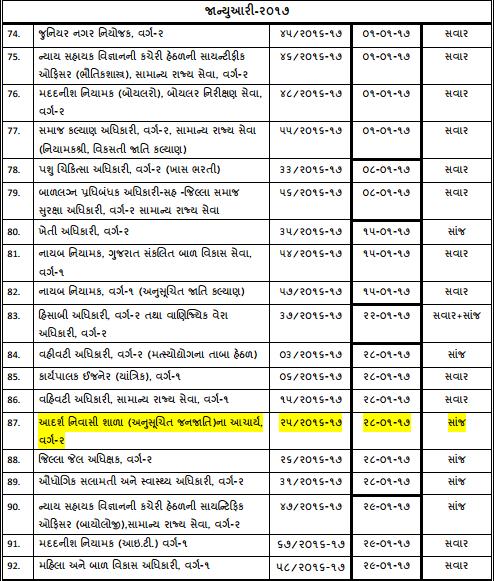 GPSC Exam Calendar