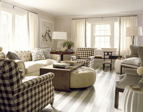 This Neutral Living Room Gets A Pair Of Bold Plaid Chairs For Contrast David Mitchell