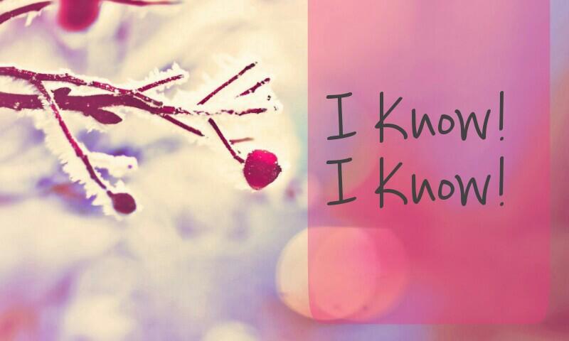 I know ! I know !