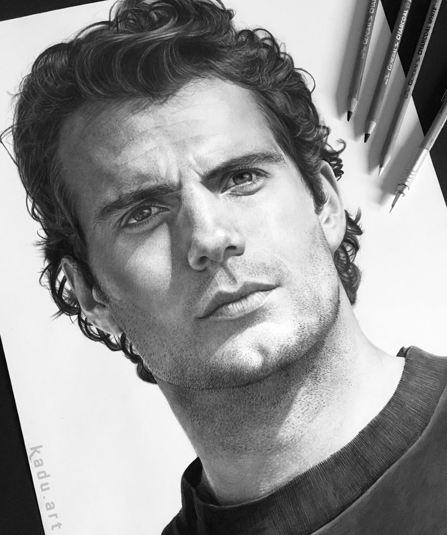04-Henry-Cavill-Superman-Eduardo-Calil-Celebrity-Portrait-Drawings-Color-and-Black-and-White-www-designstack-co