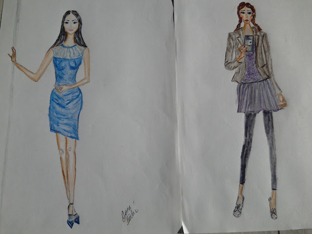 Fashion Illustration Of the Day (a Blue Cocktail Dress Worn With Blue heels)
