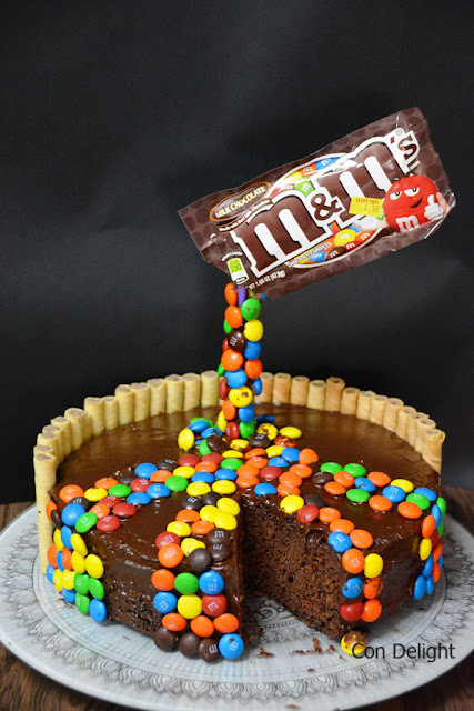 M&M' gravity defying cake