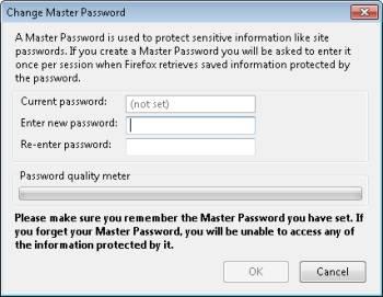 Definindo uma senha mestre no Firefox