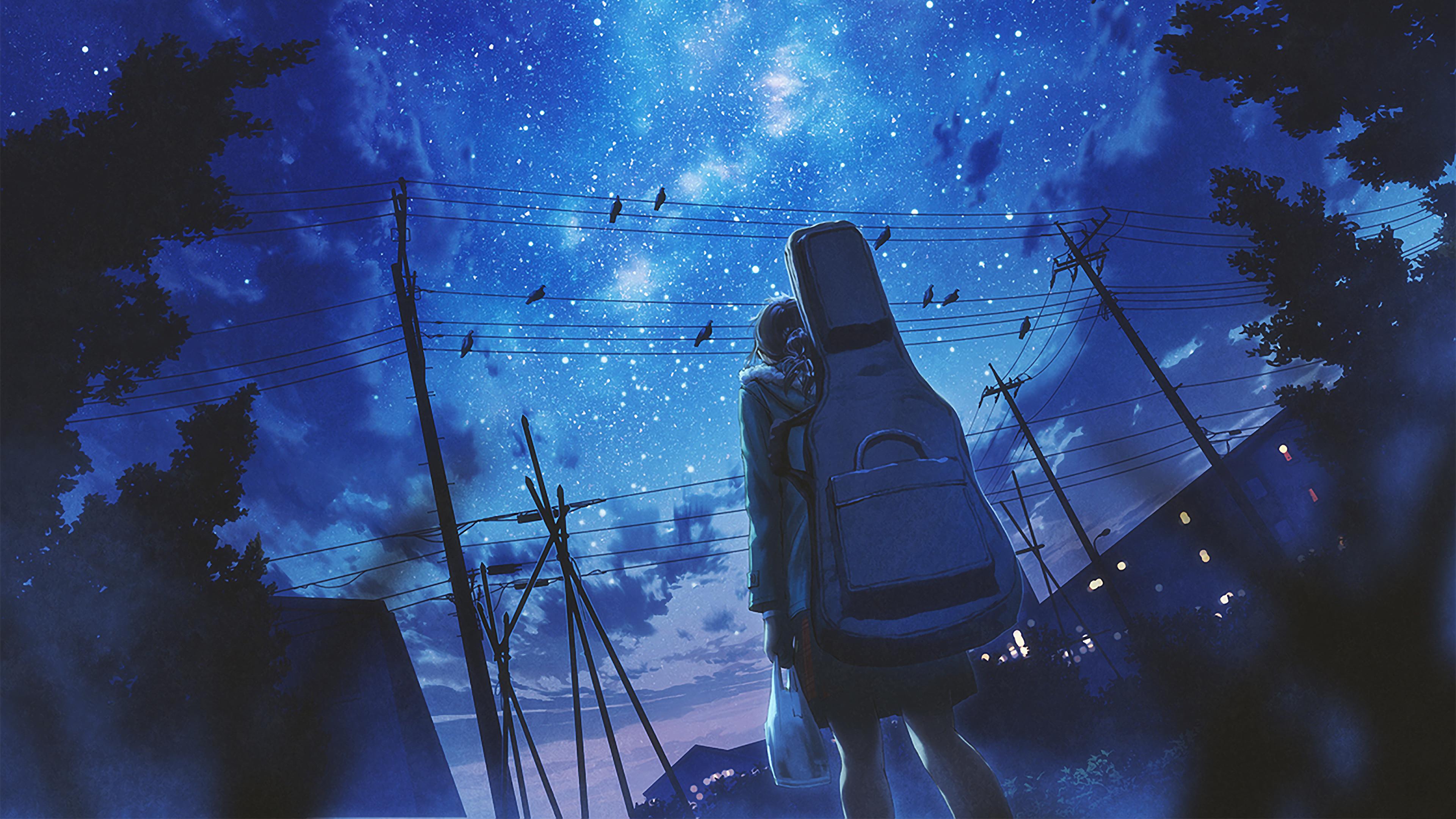 Anime, Girl, Night, Sky, Stars, 4K, #157 Wallpaper
