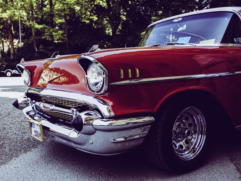 Download Red and Gray Vintage Car on Gray Concrete Road HD wallpaper. Click Visit page Button for More Images.