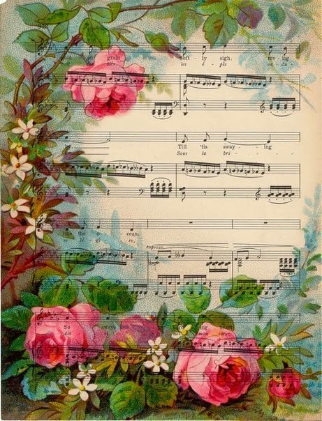 Music sheets with romantic backgrounds oh my fiesta for for Paper roses sheet music free