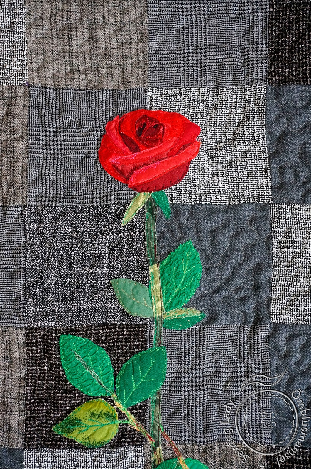 art quilting rose, appliqued flower